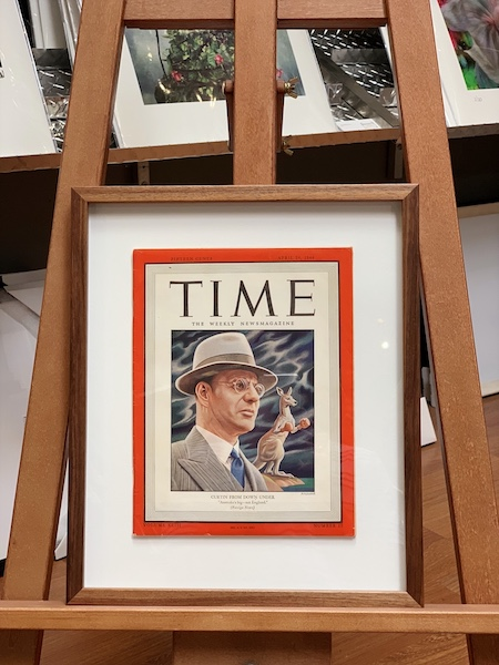 A Time Magazine front cover from 1944 featuring Australian prime minister John Curtain that has been floated on a white mat board surround and framed in an Australian Blackwood box frame with UV glass.